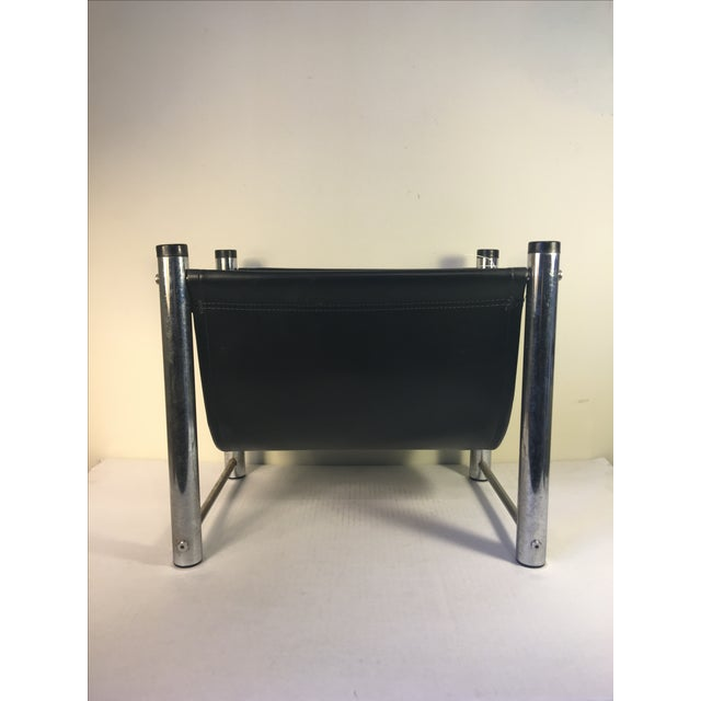 Vintage Mid-Century Leather/Chrome Magazine Rack - Image 2 of 4