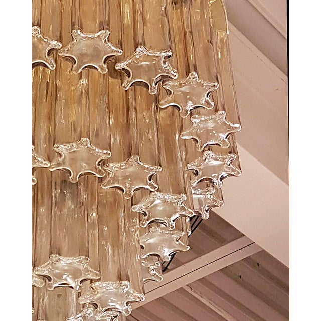 Mid Century Modern Limburg Murano Clear Glass & Brass Flush Mount Light For Sale In Dallas - Image 6 of 7