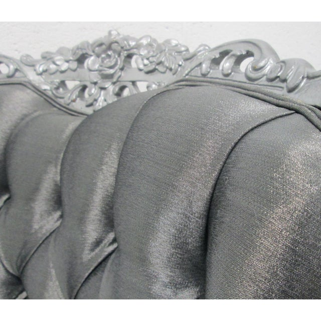 Textile Carved Rococo Style Silver Tufted Chair For Sale - Image 7 of 8