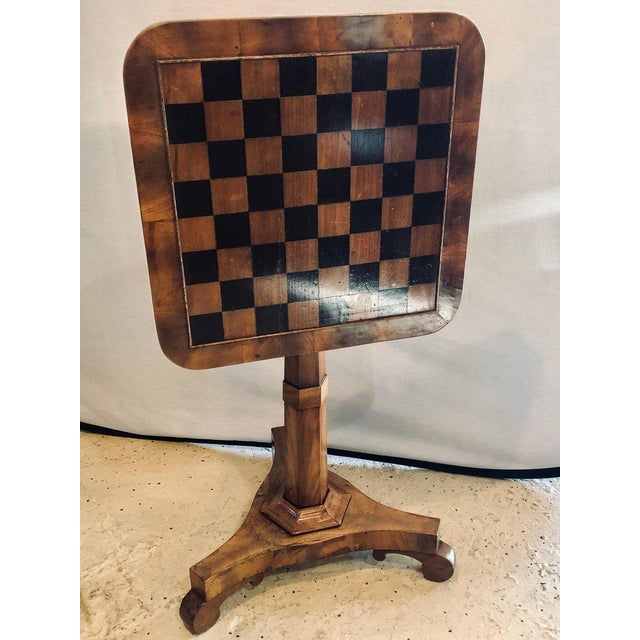 Georgian A 19th Century English Tilt Top Game Checkerboard or Card Table For Sale - Image 3 of 11