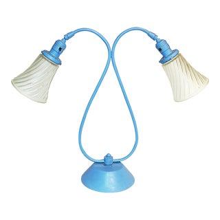 1950s Minimalist Blue Metal Table Lamp For Sale