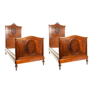 French Hand Carved Walnut / Burl Walnut Single Bed - a Pair For Sale
