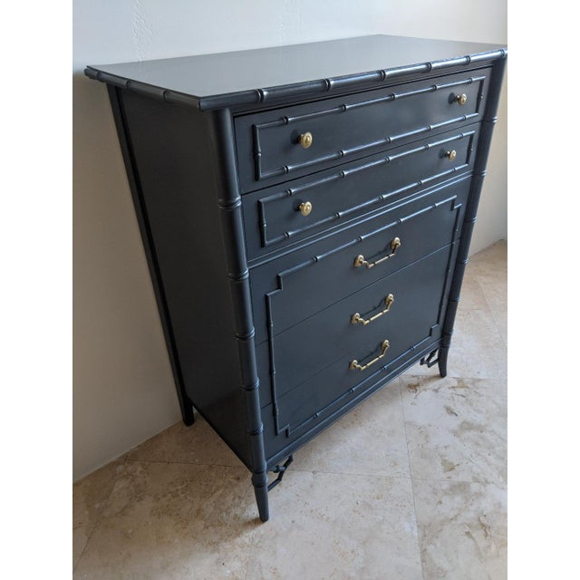 Thomasville Allegro faux bamboo five drawer dresser. Professionally sprayed in a gloss charcoal gray. Original brass...