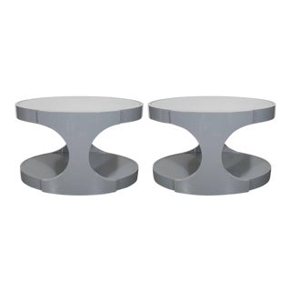 Pair of Graphic Modernist Gray Lacquered Two-Tiered Oval Side Tables For Sale