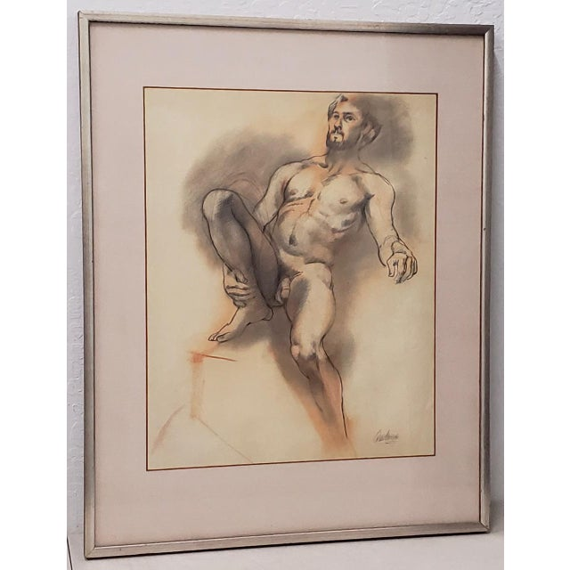 Framed Vintage Figural Nude Charcoal Study by Quitman For Sale - Image 10 of 10