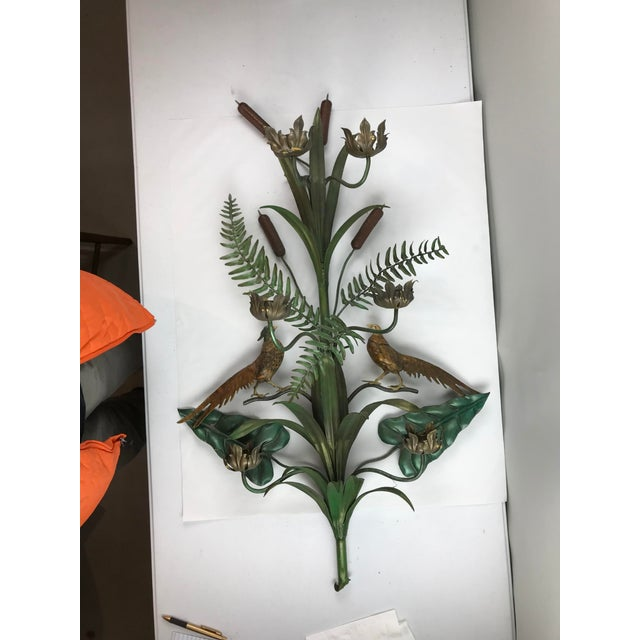 Vintage Italian Tole Wall Candle Sconce Pheasants Ferns Cattails For Sale - Image 9 of 11