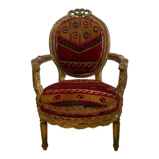 Amazing French Arm Chair Covered in an Antique Turkish Kilim Fabric For Sale