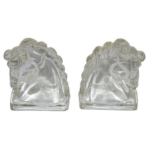 Pressed Glass Horse Head Bookends - A Pair - Image 1 of 2