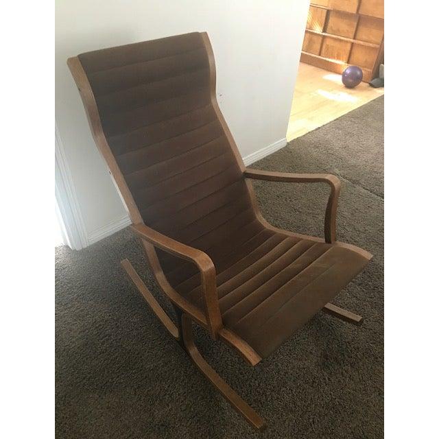 "A Mid-Century Modern ""Heron"" high back rocking chair designed in 1966 by Mitsumasa Sugasawa for Tendo Mokko. Circa 1960s...."