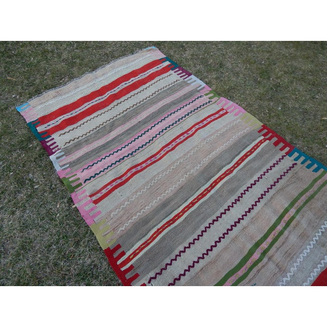 1970s Vintage Wide and Long Turkish Kilim Rug 3'11'' X 8'3'' For Sale - Image 5 of 13