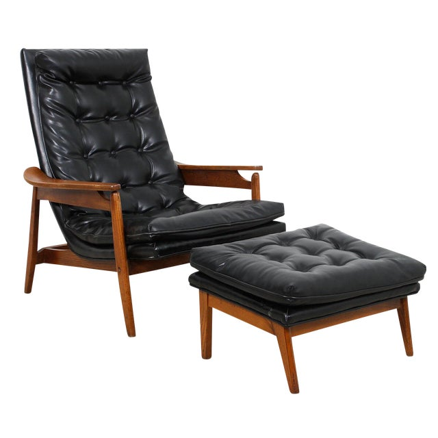 Mid-Century Modern Tufted Lounge Chair With Ottoman - Image 1 of 10