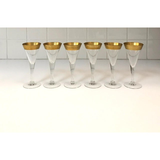 Dorothy Thorpe Set of Six Crystal Gold Rim Cordial Glasses by Dorothy Thorpe For Sale - Image 4 of 13