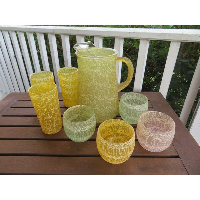 Glass Mid-Century Color Craft Spaghetti String Rubberized Drink Set - 8 Piece For Sale - Image 7 of 7