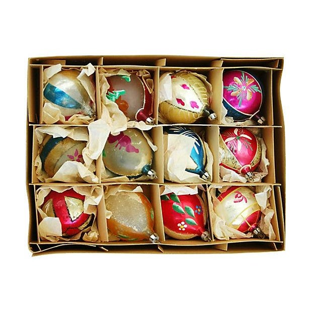 1950s Christmas Ornaments with Box - Set of 12 - Image 3 of 9