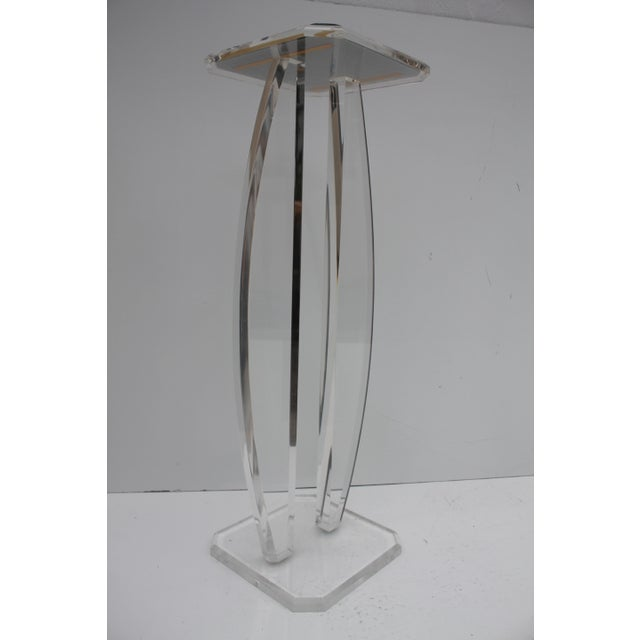 Oval Lucite Vintage Pedestal W/Glass Top Mirror - Image 8 of 9