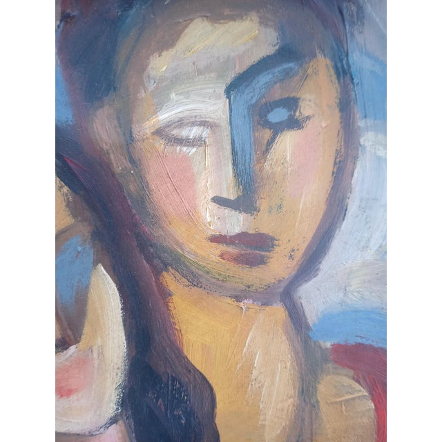 Mid 20th Century Abstract Portrait of Two Nudes Oil Painting, Framed For Sale - Image 4 of 9