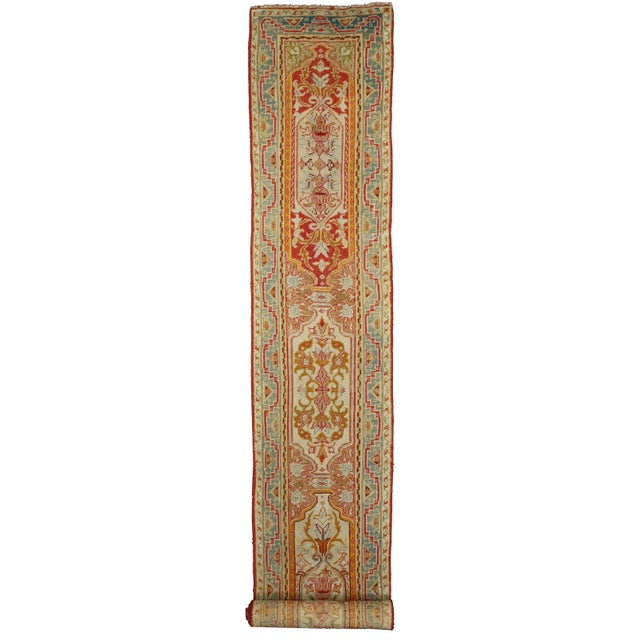 73985 Antique Turkish Oushak Runner, 23' Extra Long Hallway Runner. Turkish designs are re-imagined in rich color on this...