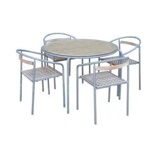 Soho Contract Group Teak and Galvanized Steel Round Patio Table + 4 Chairs Dining Set (A) For Sale