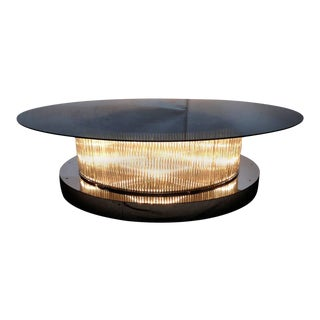 Monumental Italian Crystal Bars Coffee Table For Sale