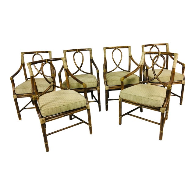1980s Mid-Century Modern McGuire Rattan Dining Arm Chairs - Set of 6 For Sale