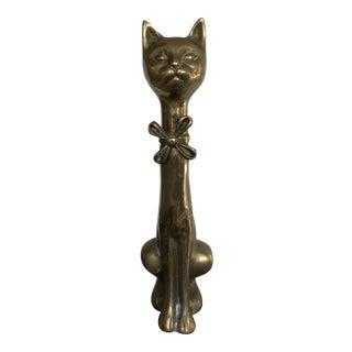 Mid-Century Solid Brass Cat Statue For Sale