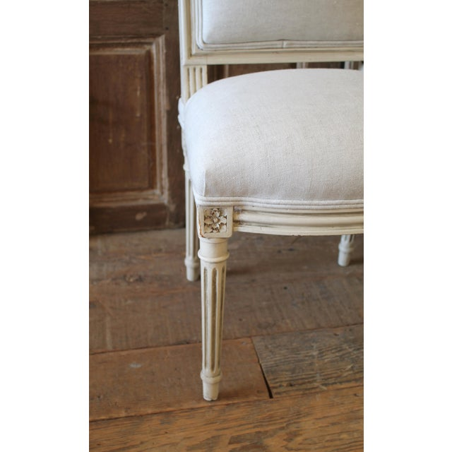 White Early 20th Century Louis XVI Style Painted and Upholstered Childs Chairs - a Pair For Sale - Image 8 of 13