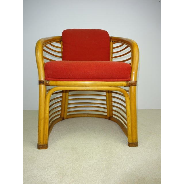 Mid-Century Deco Stylized Rattan Arm Chair - Image 3 of 10