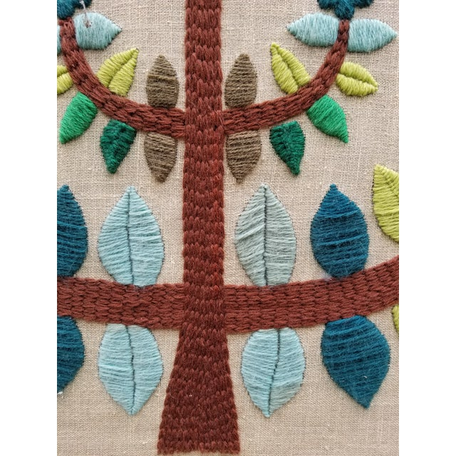 Blue Mid-Century Modern Crewel Embroidered Wall Hanging For Sale - Image 8 of 11