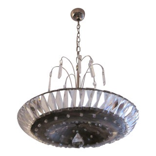 French Mid-Century Modern Neoclassical Nickel and Crystal Chandelier / Pendant