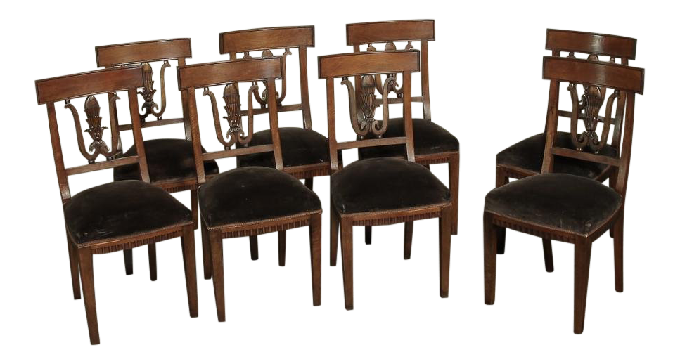 Set Of 8 Neoclassical Italian Walnut Chairs