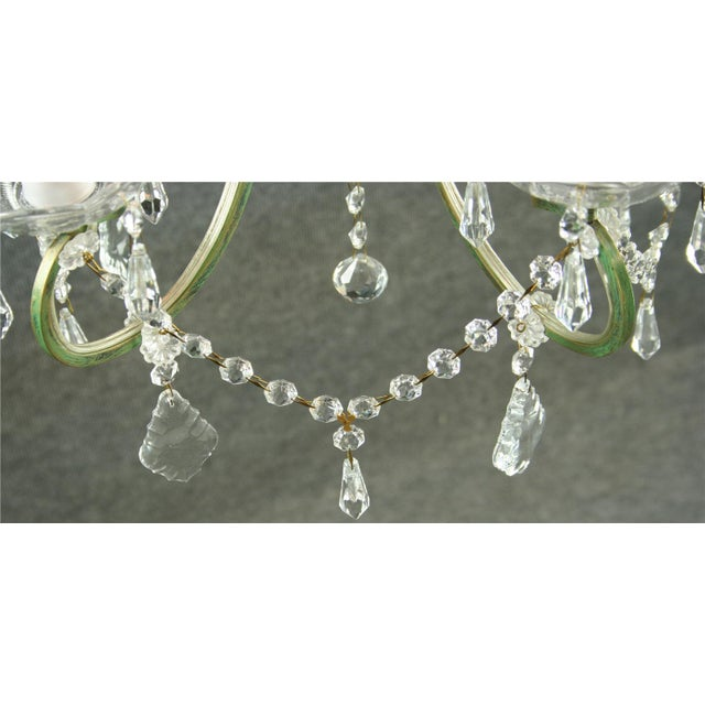 Green Rococo 5-Arm Glass Chandelier For Sale - Image 8 of 8