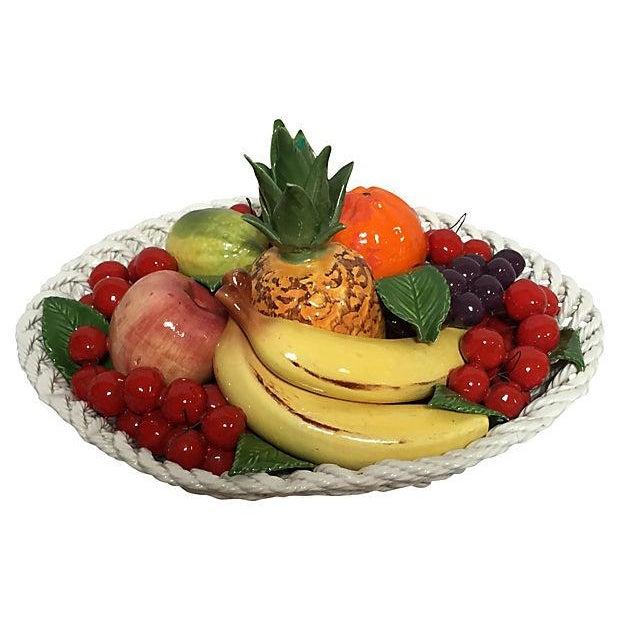 Italian Vintage Italian Majolica Fruit Basket For Sale - Image 3 of 8