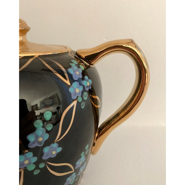 1950s Vintage English Black and Gold Tea Pot For Sale - Image 5 of 6