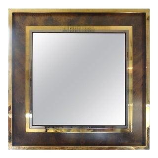 "Italian Mid Century Modern Square Brass Mirror by Romeo Rega 51"" For Sale"