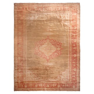 Antique Oushak Red and Gold Angora-Wool Rug with Medallion Field Design For Sale