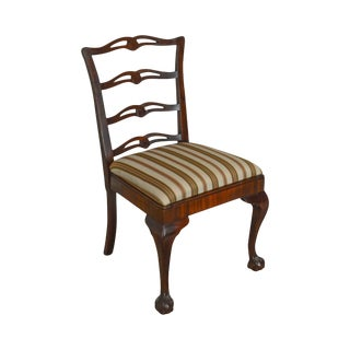 Chippendale Style Vintage Custom Mahogany Ball & Claw Ladder Back Side Chair For Sale