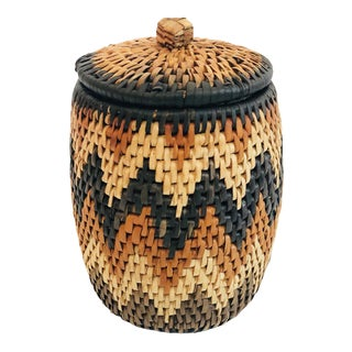 Vintage Chevron Lidded Basket Jar For Sale