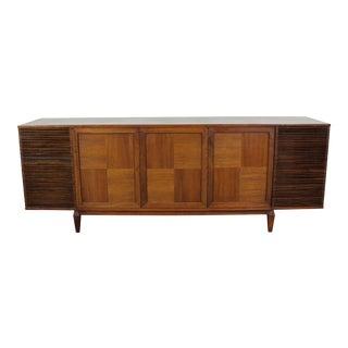 Mid-Century Danish Modern Walnut Parqueted Credenza Bar Cabinet For Sale