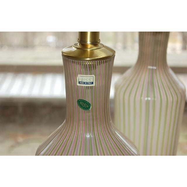 Brass Dino Martens Murano Glass Table Lamps Pink Green Stripes For Sale - Image 7 of 8