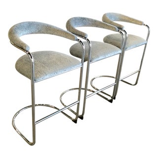 Vintage Chrome Cantilever Barstools Attributed to Thonet - Set of 3 For Sale