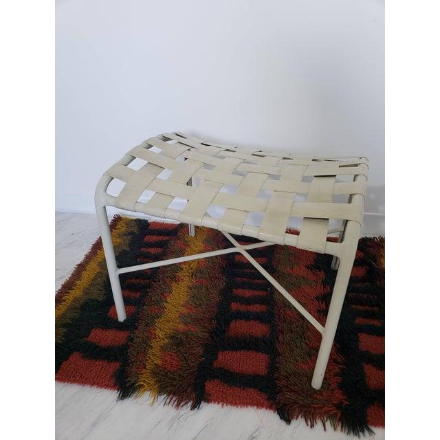 Metal Mid-Century Modern Brown Jordan Patio Set Pair Bouncy Chair Ottoman Side Table For Sale - Image 7 of 8
