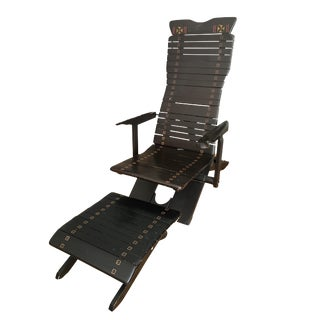 Balinese Style Slatted Wood Armchair & Ottoman For Sale