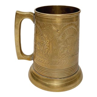 20th Century Etched Brass Mug For Sale