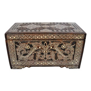 19th-C Filipino Shell Inlaid Wood Trunk For Sale