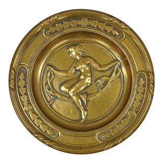Antique Bronze Neoclassical Art Nouveau Round Dish With Nude Female Maiden For Sale