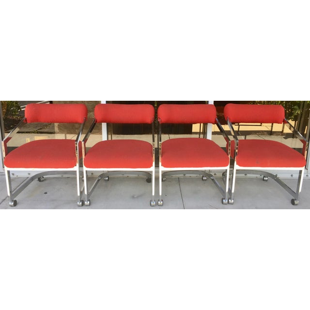 Red Dia Chairs on Casters - Set of 4 For Sale - Image 8 of 8