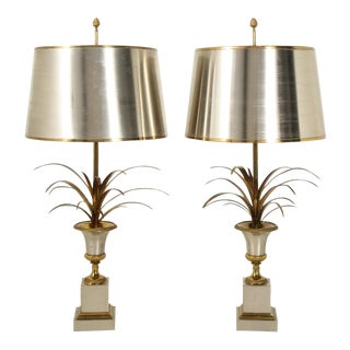 Stamped Maison Charles Brass and Steel Palmier Table Lamps, French 1960s - a Pair