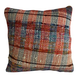 "16"" Pillow Cover Vintage Handmade Cotton Ragrug Kilim Sham Throw With Free Insert For Sale"