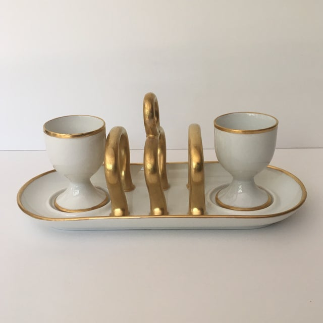 Gold Vintage Gold & White China Toast Rack & Egg Cups - Set of 3 For Sale - Image 8 of 8