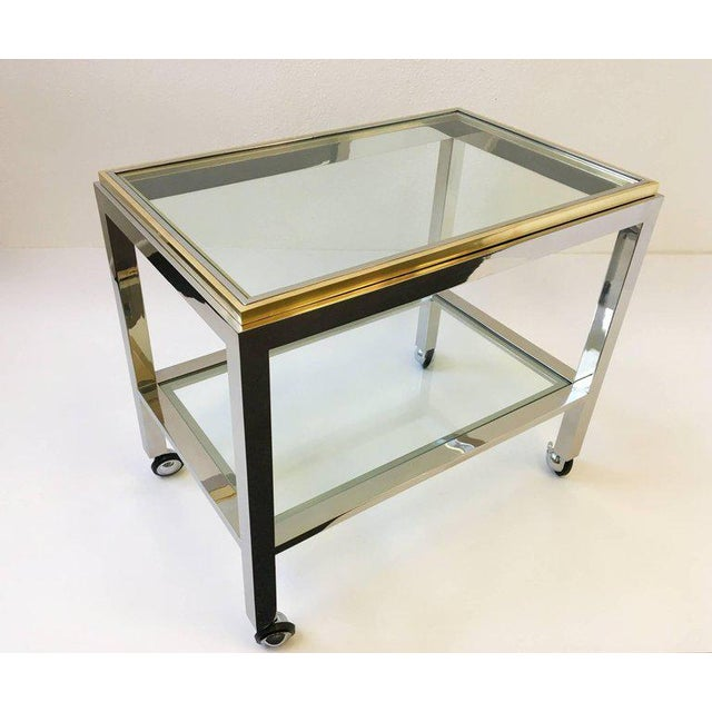Renato Zevi Chrome and Brass Bar Cart by Renato Zevi For Sale - Image 4 of 10